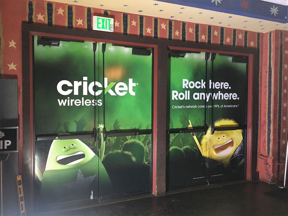 Cricket interior signage at House of Blues in San Diego, CA.