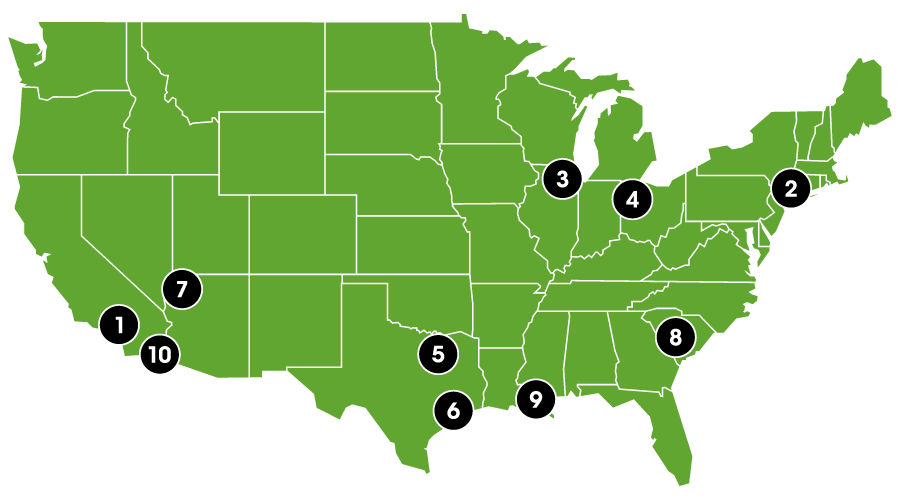 Map of food and merchandise venues in the United States