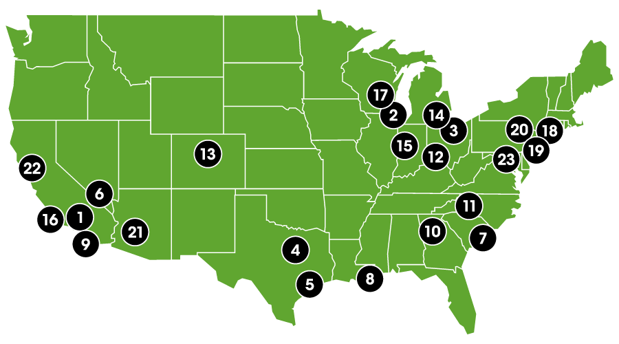 Map of Skip the Line venues in the United States