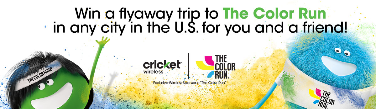 Win a flyaway trip to the color run in any city in the U.S. for you and a friend.