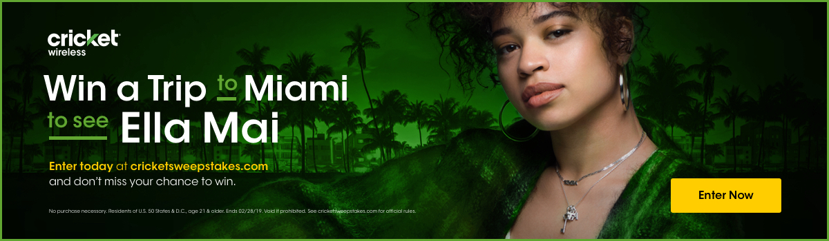 Win a flyaway trip to Miami, FL to see Ella Mai from Cricket Wireless